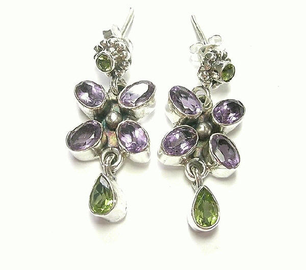 Design 6895: purple, green amethyst flower, post earrings