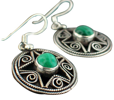 Design 7100: green malachite american-southwest, star earrings