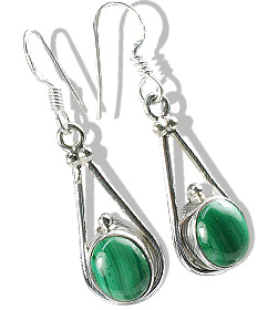 Design 7109: green malachite drop earrings