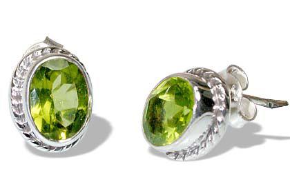 Design 7111: green peridot post earrings