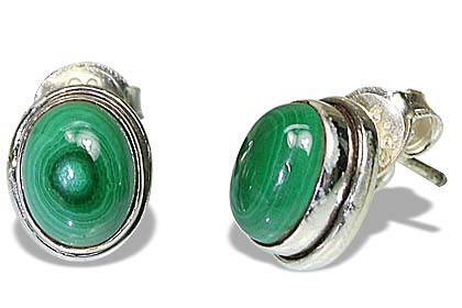 Design 7113: green malachite post earrings