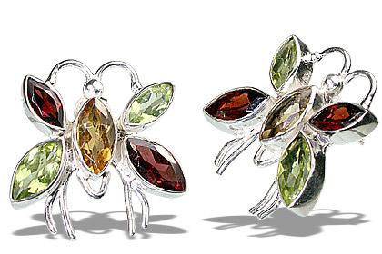 Design 7133: green,red,multi-color citrine post earrings