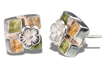 Design 7134: multi-color peridot art-deco, flower, post, studs earrings