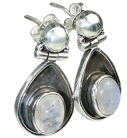 Design 7159: white moonstone post earrings