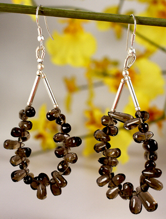 Design 7191: brown smoky quartz hoop earrings