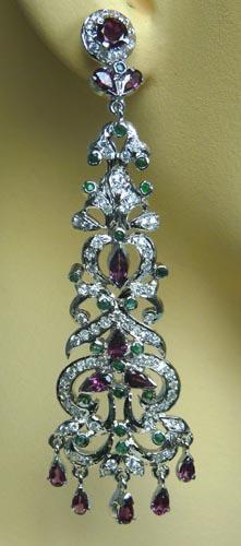 Design 7502: Purple, Green, White rhodolite earrings
