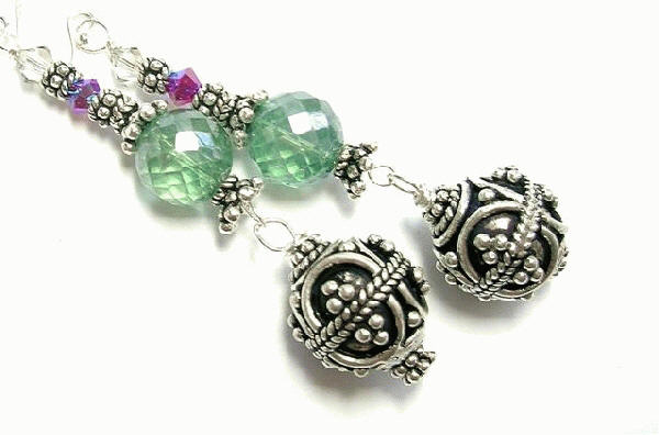 Design 7842: green quartz earrings