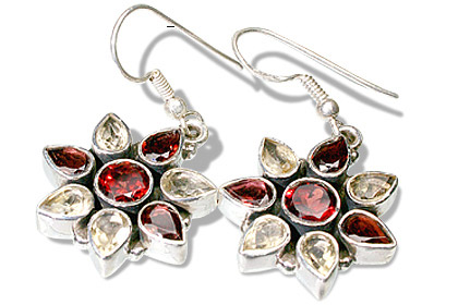Design 7852: yellow garnet estate, flower earrings