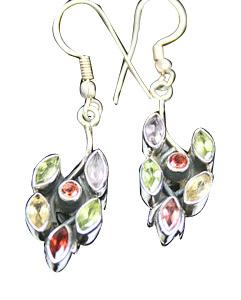 Design 7857: green,yellow multi-stone earrings