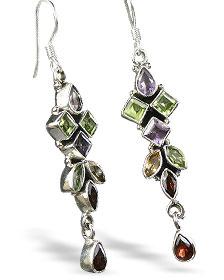 Design 7865: green,purple multi-stone earrings