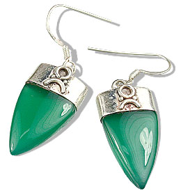 Design 7918: green onyx claw, tribal earrings