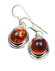 Design 7932: Orange amber earrings