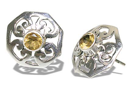 Design 7957: yellow citrine post, star, studs earrings