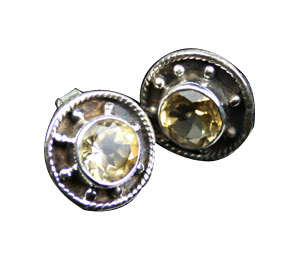 Design 7960: yellow citrine gothic-medieval, stud earrings