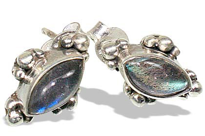 Design 8034: gray labradorite post earrings