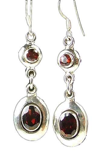 Design 811: red garnet contemporary earrings