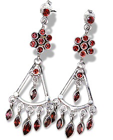 Design 821: red garnet chandelier, flower earrings