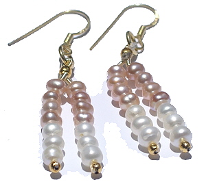 Design 865: pink,white pearl multistrand earrings