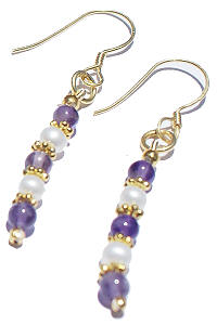 Design 869: purple,white pearl classic earrings