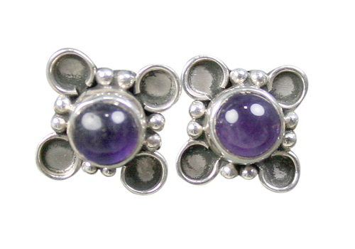 Design 8761: purple amethyst flower, studs earrings