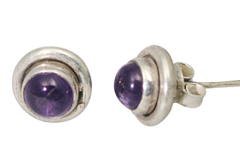 Design 8767: purple amethyst studs earrings