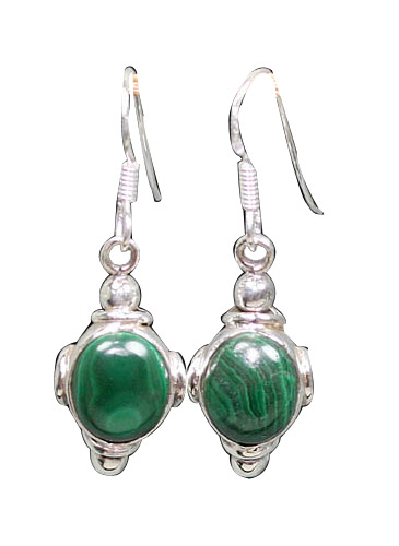 Design 8855: green malachite drop earrings