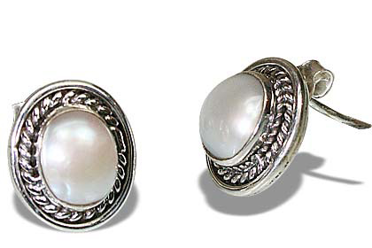 Design 8864: white pearl post, studs earrings