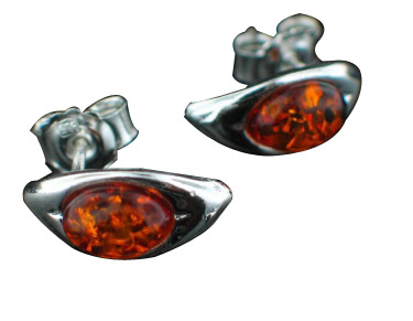 Design 8901: orange amber post, studs earrings
