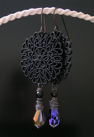 Design 9056: black,multi-color onyx art-deco, gothic-medieval earrings