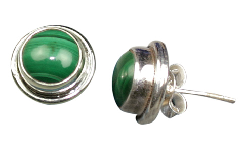 Design 9101: green malachite studs earrings