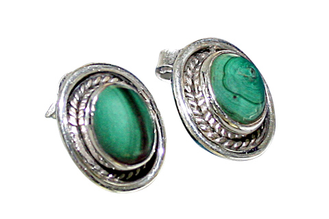 Design 9103: green malachite american-southwest earrings