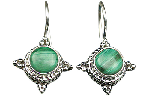 Design 9105: green malachite earrings