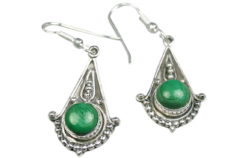 Design 9106: green malachite american-southwest earrings