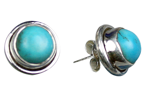 Design 9108: blue turquoise studs earrings