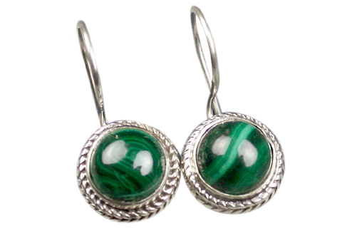 Design 9109: green malachite earrings