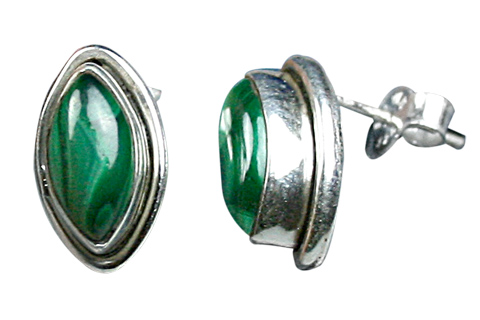 Design 9112: green malachite studs earrings