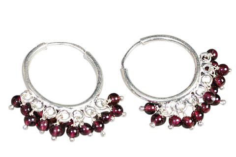 Design 9137: Red garnet hoop earrings