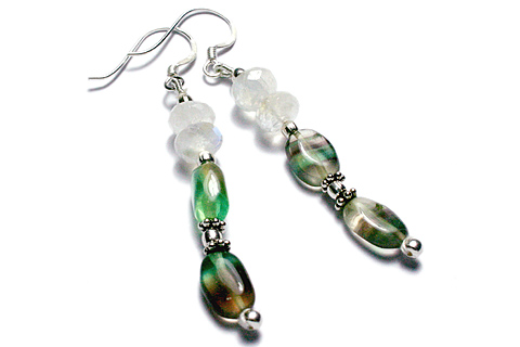 Design 9214: White, Green moonstone earrings