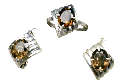 Design 9231: Brown smoky quartz earrings