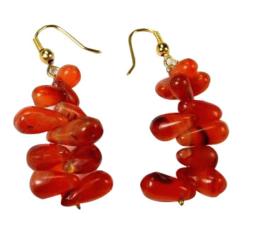 Design 942: orange carnelian drop, halloween earrings