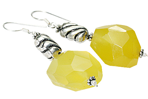 Design 9711: Yellow chalcedony chunky earrings