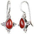 Design 1424: orange carnelian drop earrings