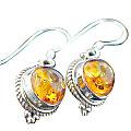 Design 15806: orange amber drop earrings
