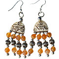 Design 16033: brown,orange bone ethnic earrings