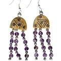 Design 16076: brown,purple bone ethnic earrings