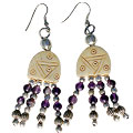 Design 16079: brown,purple bone ethnic earrings