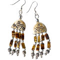 Design 16080: brown tiger eye ethnic earrings