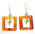 Design 17718: orange carnelian earrings