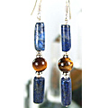 Design 6011: blue,brown lapis lazuli earrings
