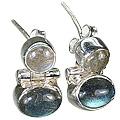 Design 6327: blue,gray labradorite post earrings